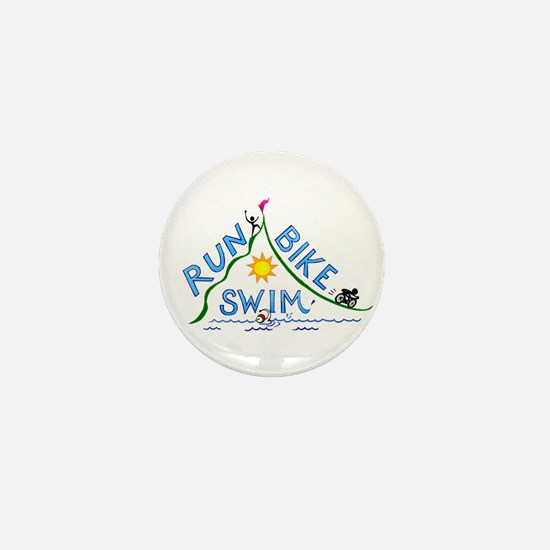 Run, Bike, Swim Mini Button