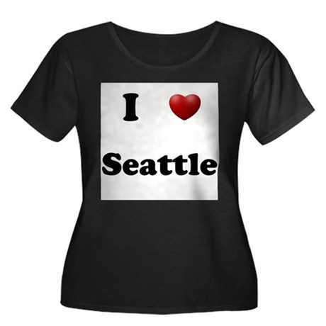 Seattle Women's Plus Size Scoop Neck Dark T-Shirt
