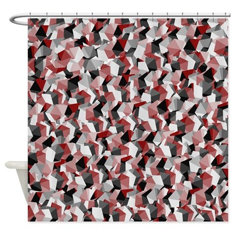 Red White and Black Squares Shower Curtain