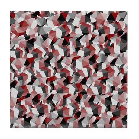 Red White and Black Squares Tile Coaster