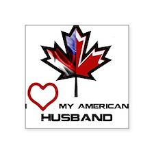 """Canada-America Husband.png Square Sticker 3"""" x 3"""""""