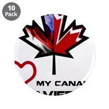 """America - Canada Wife.png 3.5"""" Button (10 pack)"""