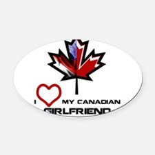 America - Canada Girlfriend.png Oval Car Magnet
