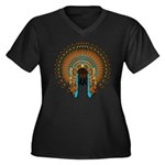 Native War Bonnet 08 Women's Plus Size V-Neck Dark