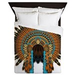 Native War Bonnet 08 Queen Duvet