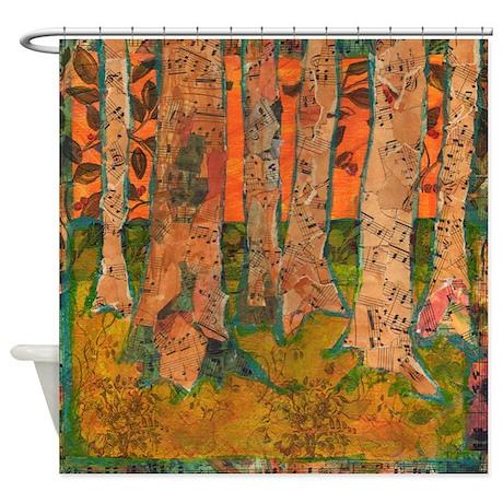 Orange Tangerine Trees Bathroom Shower Curtain
