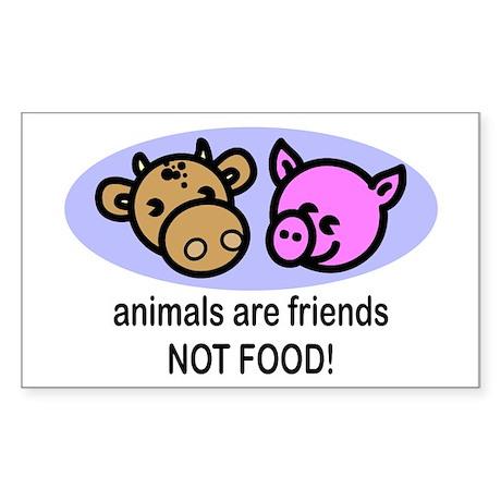 Animals Are Friends Rectangle Sticker