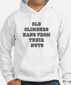 Old climbers hang from their nuts Hoodie