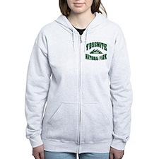 Yosemite Old Style Green Zip Hoodie