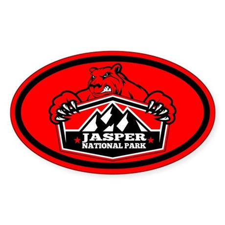 Jasper Red Bear Sticker (Oval)