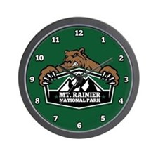 Mt. Rainier Brown Bear Wall Clock
