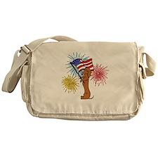 Dachshund - Patriotic Tan Messenger Bag