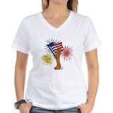 Dachshund patriotic Womens V-Neck T-shirts