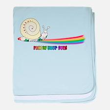 Rainbow Follow Your Fun Cute Snail baby blanket