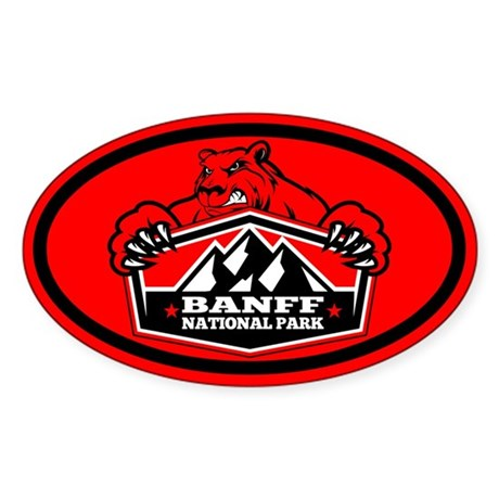 Banff Red Bear Sticker (Oval)