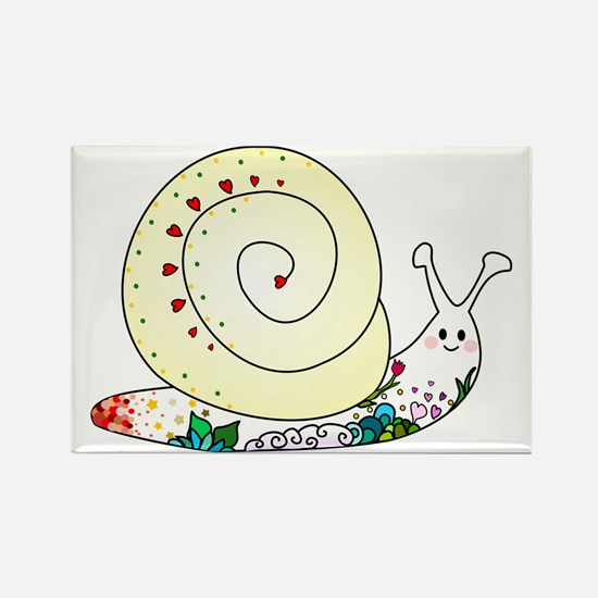 Colorful Cute Snail Rectangle Magnet