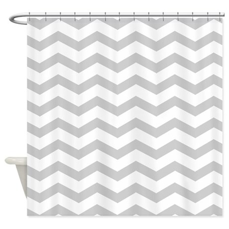 Grey Chevron Pattern Shower Curtain
