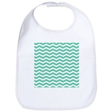 Aqua Teal chevron pattern Bib
