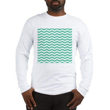 Aqua teal chevron pattern long sleeve t shirt for Aqua blue color t shirt