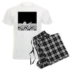 Black and White Ribbon Damask Pajamas