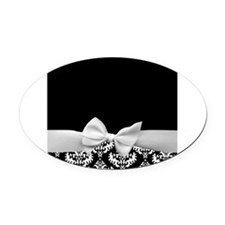 Black and White Ribbon Damask Oval Car Magnet