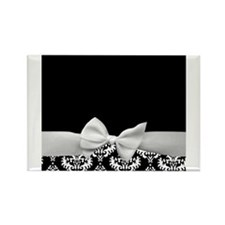 Black and White Ribbon Damask Rectangle Magnet