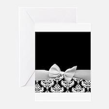 Black and White Ribbon Damask Greeting Cards (Pk o