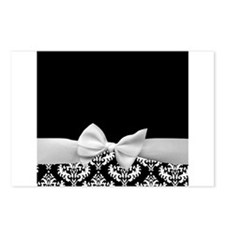 Black and White Ribbon Damask Postcards (Package o
