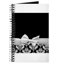 Black and White Ribbon Damask Journal
