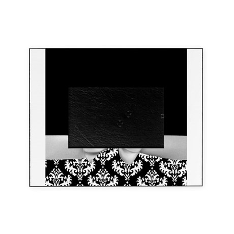 Black and White Ribbon Damask Picture Frame