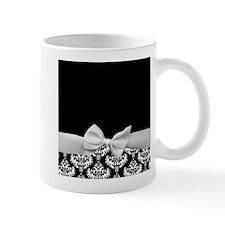 Black and White Ribbon Damask Small Mug