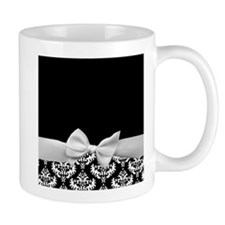 Black and White Ribbon Damask Small Mug