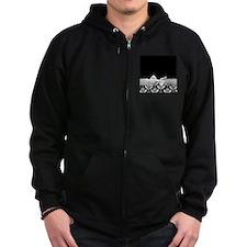 Black and White Ribbon Damask Zip Hoodie