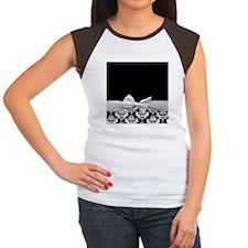 Black and White Ribbon Damask Women's Cap Sleeve T