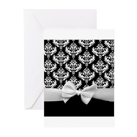 Bow and Damask Greeting Cards (Pk of 10)