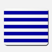 Navy Blue and White Sailor stripes Mousepad