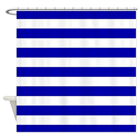 Navy Blue and White Sailor stripes Shower Curtain
