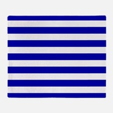 Navy Blue and White Sailor stripes Throw Blanket