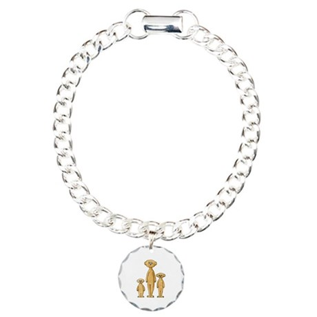 Family of Meerkats. Charm Bracelet, One Charm
