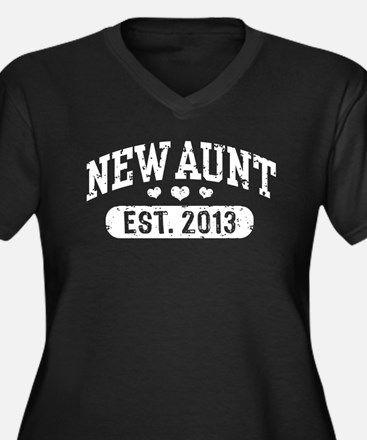 New Aunt Est. 2013 Women's Plus Size V-Neck Dark T