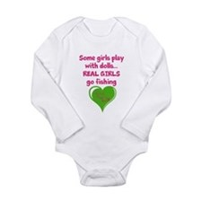 Real Girls Go Fishing Long Sleeve Infant Bodysuit