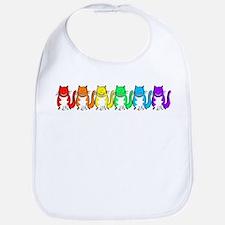 Happy Rainbow Cats Bib