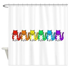 Happy Rainbow Cats Shower Curtain