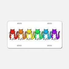 Happy Rainbow Cats Aluminum License Plate