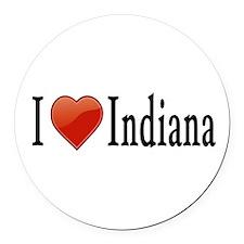 I Love Indiana Round Car Magnet