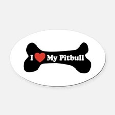 I Love My Pitbull - Dog Bone Oval Car Magnet