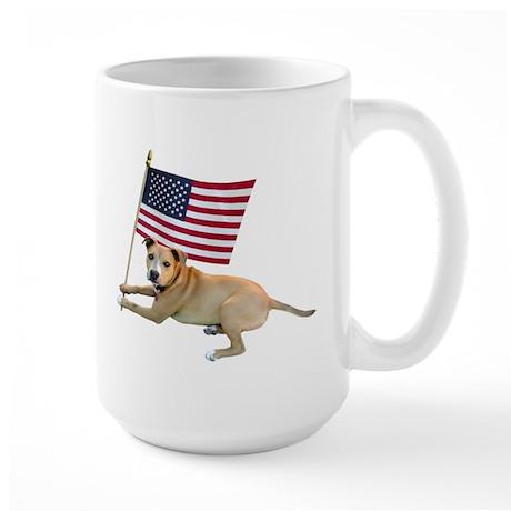 American Flag Pit Bull Large Mug