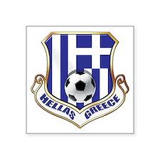 "Greek Soccer Shield Square Sticker 3"" x 3"""