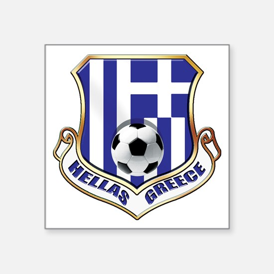 "Greek Soccer Shield Square Sticker 3"" x 3"""