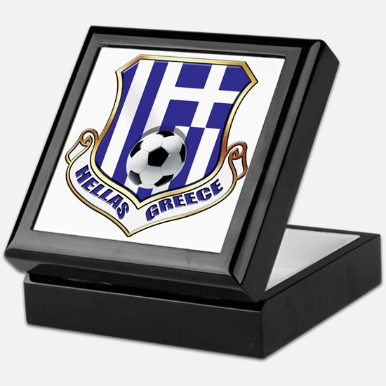 Greek Soccer Shield Keepsake Box